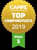 """Siegel """"Top Campingplatz Platz 1"""" der Campz Campingplatzwahl in der Schweiz"""