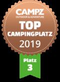 """Siegel """"Top Campingplatz Platz 3"""" der Campz Campingplatzwahl in der Schweiz"""