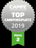"""Siegel """"Top Campingplatz Platz 2"""" der Campz Campingplatzwahl in der Schweiz"""